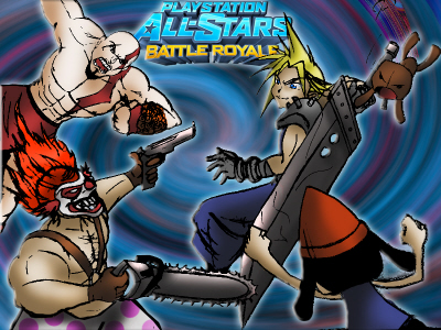 Cloud Strife, Sackboy, Parappa, Sweet Tooth, and Kratos in PlayStation All-Stars Battle Royale on Paul Gale Network