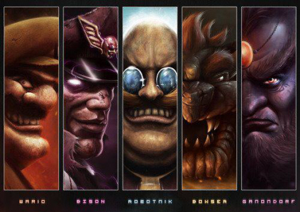 Awesome drawing of Wario, Bison, Dr. Robotnik, Bowser, and Ganondorf on Paul Gale Network