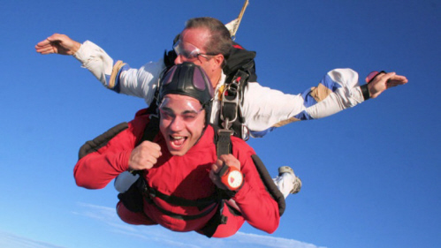 No Limits Skydiving - Tandem skydiving in the clear blue sky