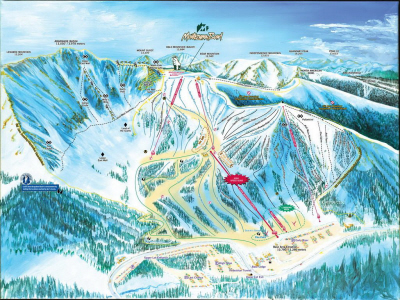 Trail map of front side of Arapahoe Basin Mountain