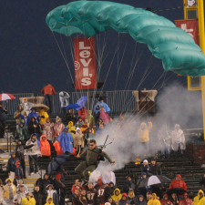 No Limits Skydiving - Parachuting into a stadium with smoke effects