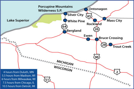 Map of the Porcupine Mountains Wilderness