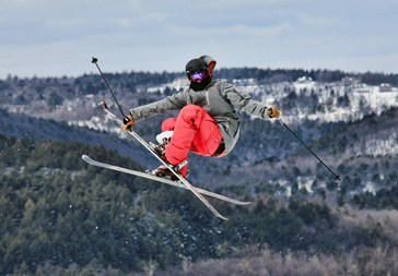 A skier gets some air at Blue Mountain Resort