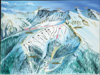 Trail map of back side of Arapahoe Basin Mountain
