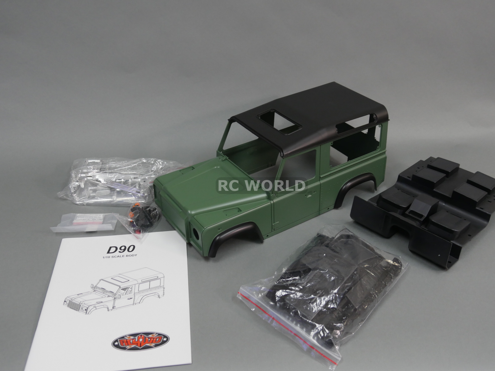 rc 1 10 scale truck hard body shell land rover defender 90 w interior painted. Black Bedroom Furniture Sets. Home Design Ideas