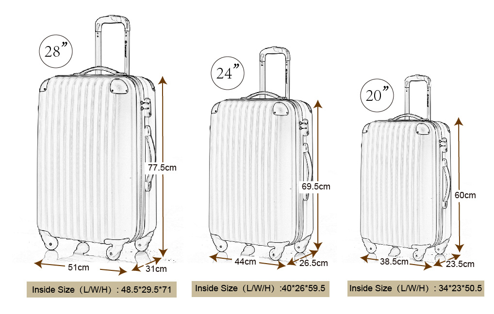 BTM Hard Shell 4 Wheel Spinner Suitcase ABS Luggage Trolley Cabin ...